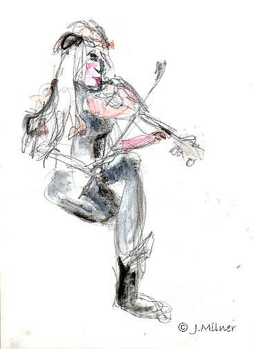 """Quick sketch of a Regional Performing Artist at an """"open mic night"""" at a local cafe.  Graphite, water colour pencil, water wash on paper."""
