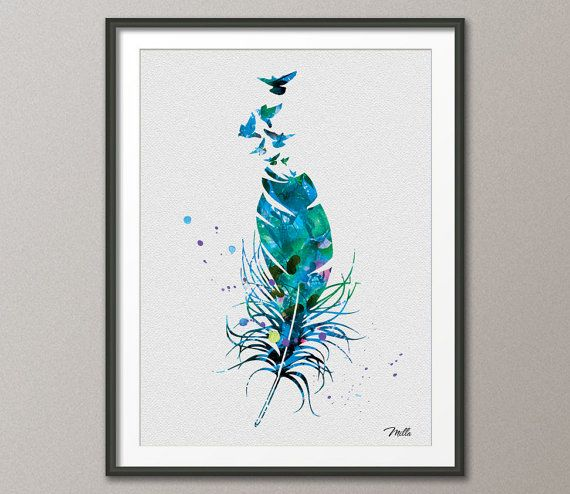 Feather and Birds Watercolor illustrations Art Print  8x10 Wedding Gift Wall Art Poster Giclee Wall Decor Art Home Decor Wall Hanging No 35