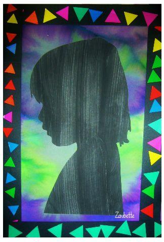 imprimer photo au recto, peindre au verso puis découper Portrait silhouette