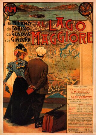 Al Lago Maggiore Poster - Al Lago Maggiore is an old travel advertisement of the second largest lake in Italy, Lake Maggiore. It's another one of the best Italian posters advertising in vintage style with beautiful and gorgeous color of its orange tone.