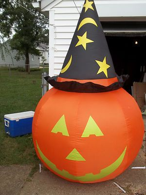 Airblown inflatable 7 39 giant pumpkin w hat great yard for Christmas cat yard decorations