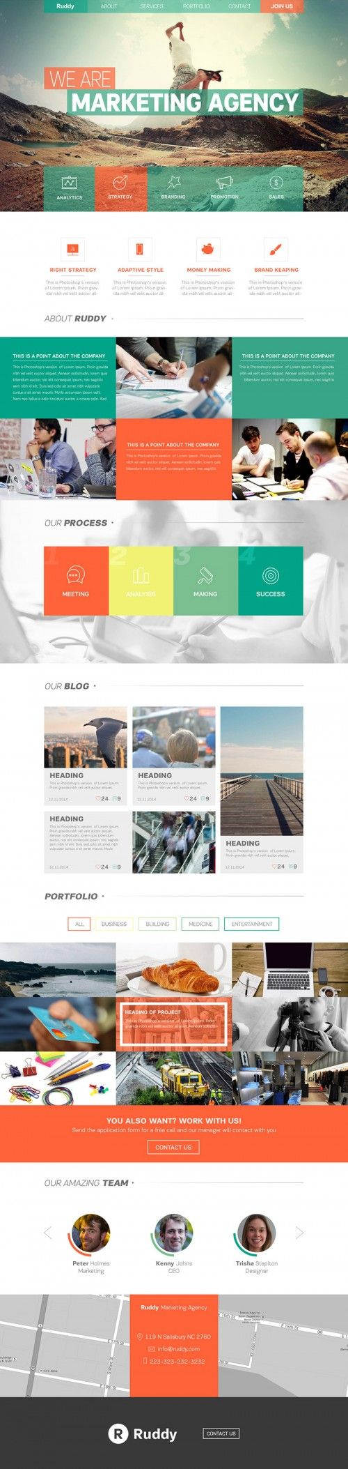 Clean One Page Website Theme PSD