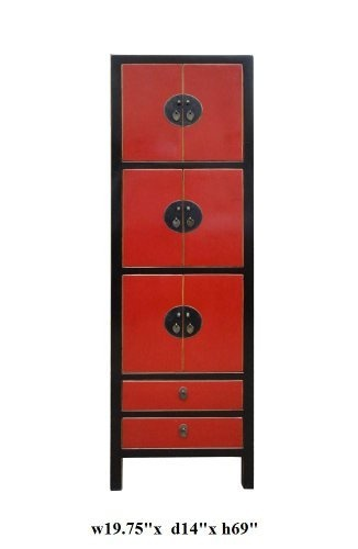 1580 Black Red Lacquer Moon Face Tall Cabinet Ass771