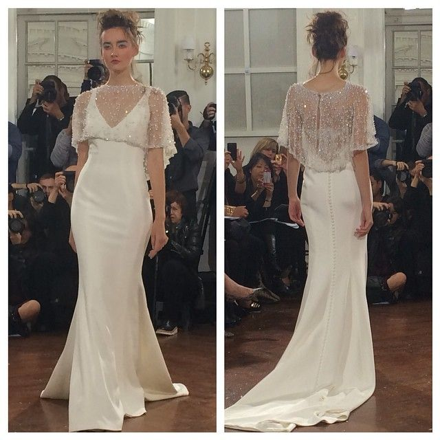 We love this pearl capelet. Gown by Ines Di Santo