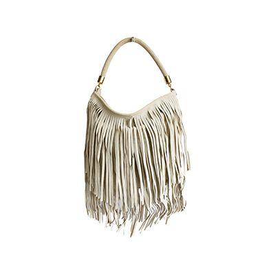 Alexis Italian Fringed Cream Suede Leather Hobo Satchel Bag - £49.99