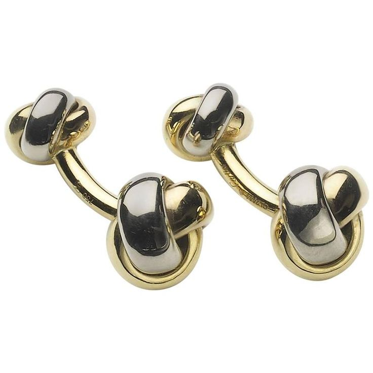Cartier gold Knot Cufflinks | From a unique collection of vintage cufflinks at https://www.1stdibs.com/jewelry/cufflinks/cufflinks/