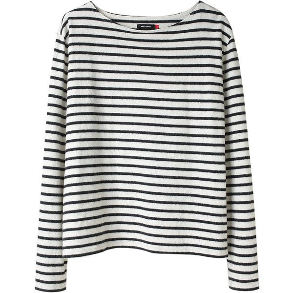 Wood Wood Adrien Striped Tee. (1.345 ARS) ❤ liked on Polyvore featuring tops, shirts, sweaters, long sleeves, women, boat neck tops, striped long sleeve shirt, stripe shirt, striped boatneck top and black white stripe shirt