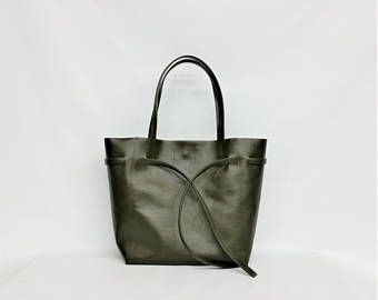 SALE Genuine Black Italian Leather Bag with Leather Rope/ Soft Black Leather Tote Bag/Raw Edged Shopper/olive green leather tote