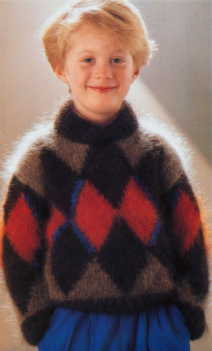 boys kids mohair sweater, photo from patons knitting pattern fuzzy fluffy childrens