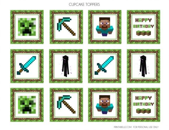 minecraft cupcakes toppers