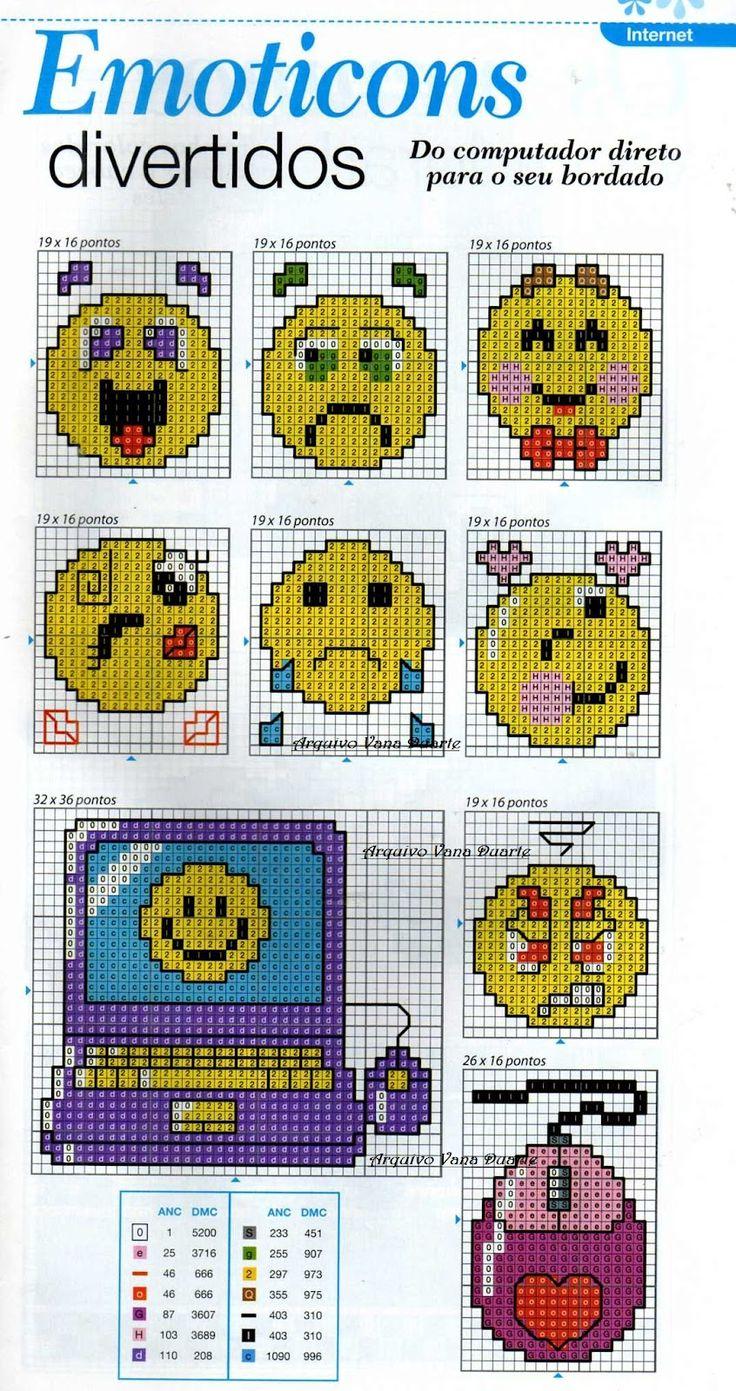 Emoticons para bordar ~ Gráficos ponto cruz da drica
