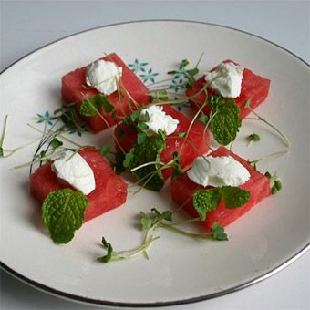 Watermelon with Goat Cheese, Mint and Arugula
