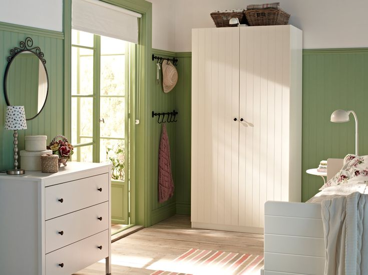 Love the green and white. PAX white wardrobe with RISDAL white doors and KOPPANG white chest of drawers