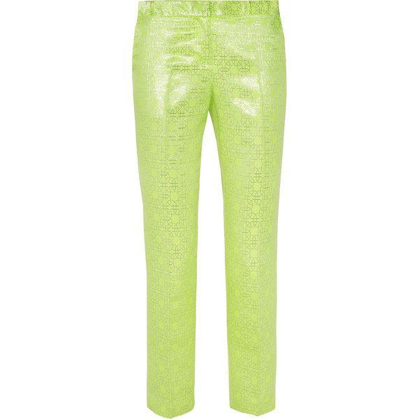 Tibi Neon and metallic jacquard straight-leg pants (2,850 MXN) ❤ liked on Polyvore featuring pants, green, lime green, cropped trousers, tibi, pocket pants, lime green pants and tibi pants