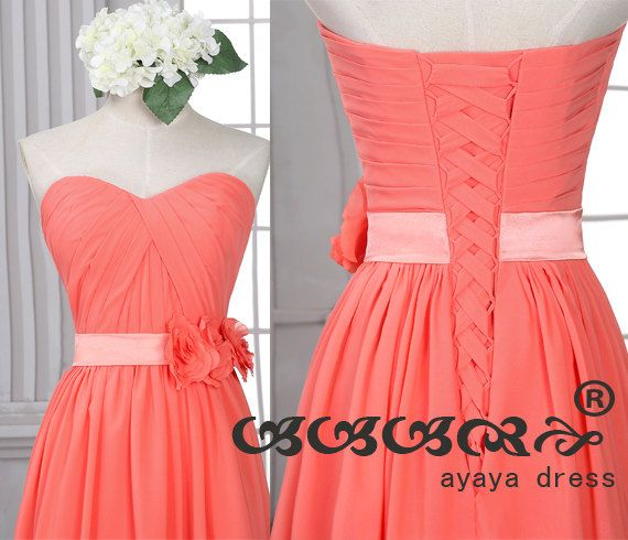 Coral long Bridesmaid DressCoral Bridesmaid van ayayadress op Etsy