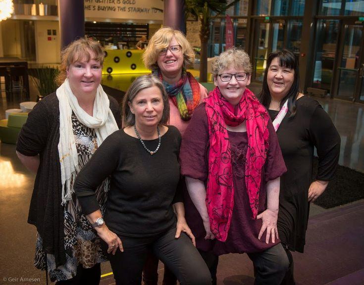 Norsk Strikkeforening/Norwegian Knitting Association Founded. Here is the Board members, first row from right; Chair Liv-Norunn Stavik; Vice Chair Tove Fevang; second row from left; Cashier Jette Kjørseng; Board member Gunnhild Marie Hagen; Secretary Rita Stenseth.