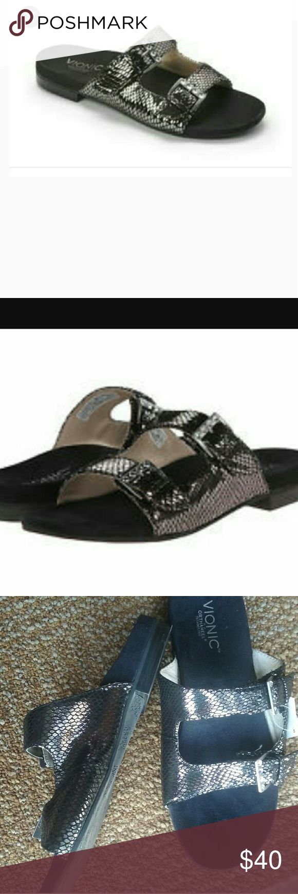 Vionic  black patent and pewter sandal Carina , black snake pewter upper leather double strap buckle with Crystal detail on each one size 9.5 brand new never worn I do not have the original box Vionic Shoes Sandals