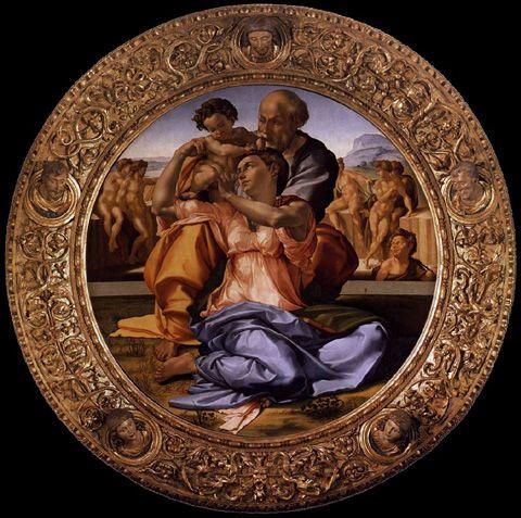 MICHELANGELO- Tondo Doni (1503-04) Tempera grassa su tavola @Galleria degli Uffizi, Firenze
