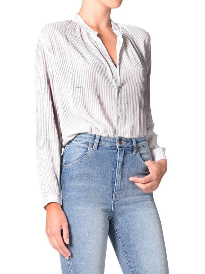 ROLLAS - Skinny Stripe Blouse Faded Grey