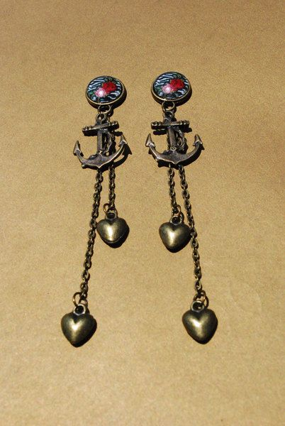 "Wild Thing - Zebra Print Anchor and Heart Dangle Plugs - 4g, 2g, 0g, 00g, 7/16"", 1/2"""