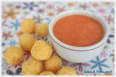 Recette bébé 12 mois Perles de polenta sauce poivron rouge