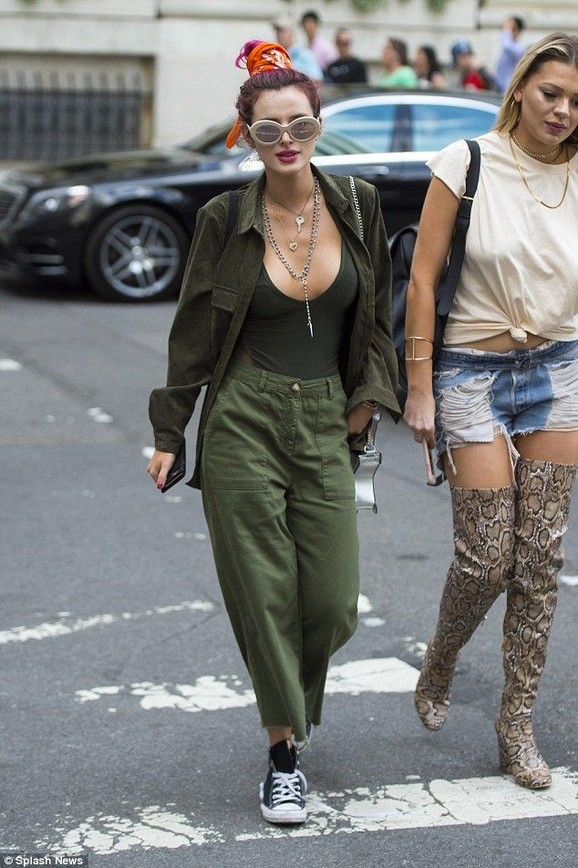 Quick change artist: Bella Thorne, 19, was spotted in a green ensemble after sporting a re...