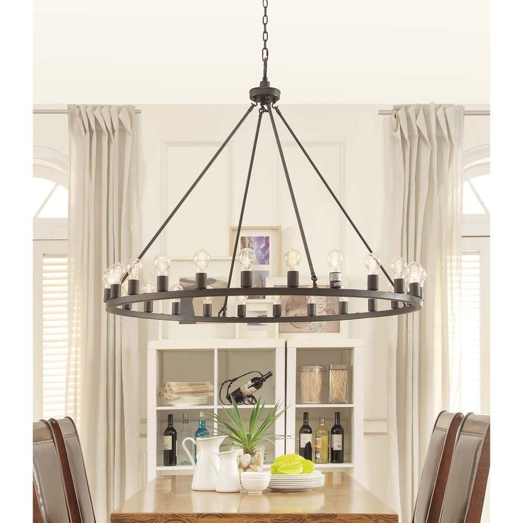 The luxurious combination of old and new features makes this large 48-inch diameter Liam chandelier a statement piece in your home. Featuring exposed retro-modern Edison bulbs, mounted on an oiled bronze frame, this light is sure to leave an impression.