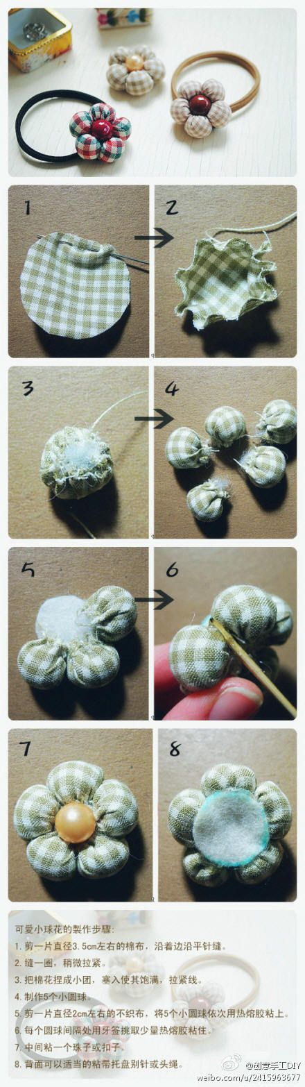 step by step pictures to make puffy fabric flowers
