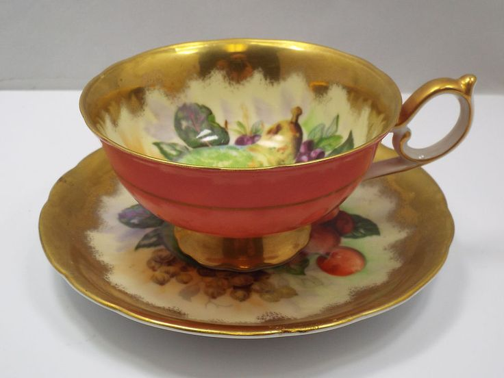 CDGC China Tea Cup & Saucer, Coral, Fruit, and Gold pattern Japan | Pottery & Glass, Pottery & China, China & Dinnerware | eBay!