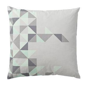 Coussin carré coton gris avec motifs triangles Bloomingville