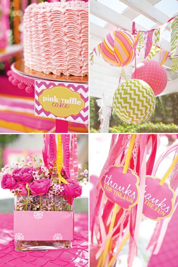 Fabric covered balloons and favor wands for a great girl birthday party