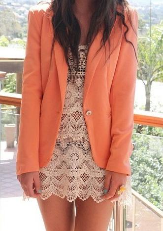 Love the lace dress and orange blazer so cute