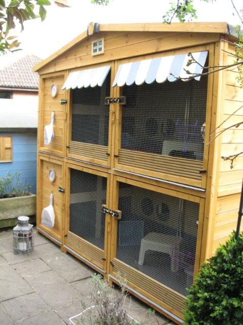rabbit hutches by Kernow - these are 8ftx3x3. Love the cute wood awning.