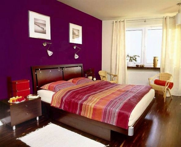 Fine Dark Purple Bedroom Colors Accent Wall In I Think Throughout Decorating