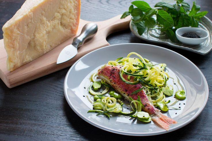 Sandwich di triglia al Grana Padano con zucchine e fave, un accostamento partiolare he vi stupirà.