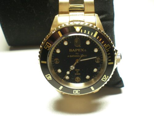Authentic A Bathing Ape bape Watch Bapex Gold Black New from Japan RARE   eBay