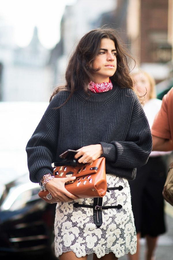 leandra medine in black chunky knit, red bandana, and lace printed mini