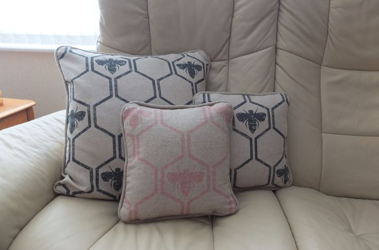 Piped cushion covers with zip fastening - Barneby Gates bumblebee print fabric