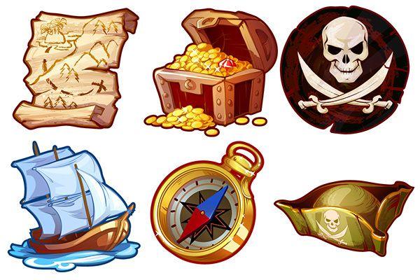 Pirates - game icons by Victoria Kosheleva, via Behance