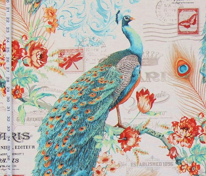 Peacock fabric Paris French letter butterfly stamp from Brick House Fabric: Novelty Fabric
