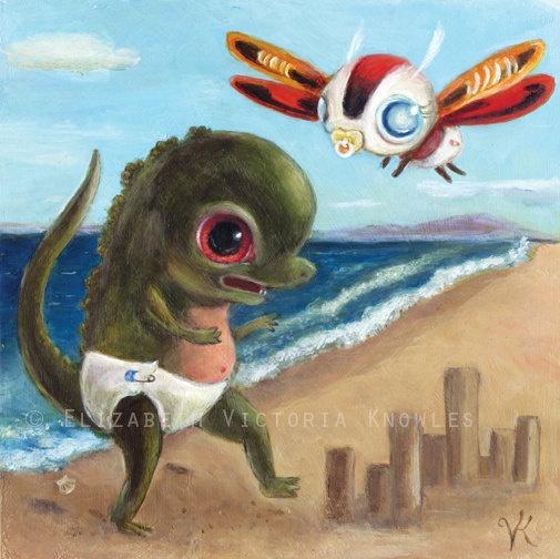 Matted 5 x 5 Print Big Eye Baby Godzilla vs Mothra by wibbleyworld, $17.00