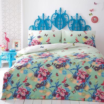 Floral, pastel bedding is on trend for spring/summer 2014 - try Butterfly Home by Matthew Williamson in Green 'Azure' at Debenhams.