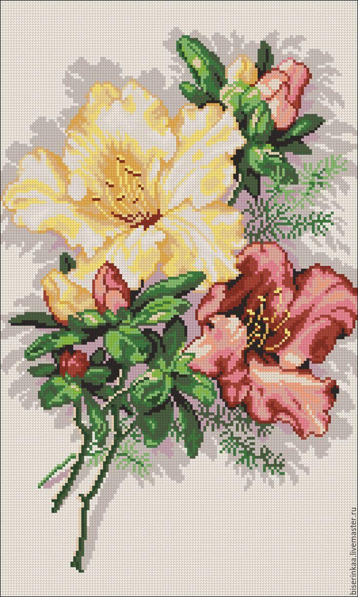 схема вышивки панели красная роза