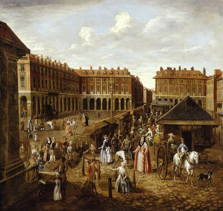 Covent Garden Piazza and Market, London by Joseph van Aken, 1726–1730