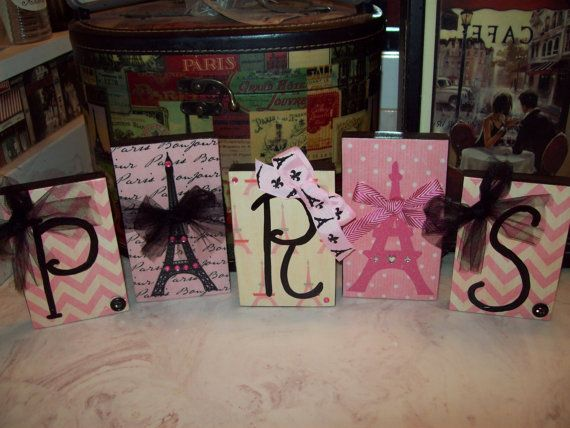 Pink chevron PARIS letter blocks, Eiffel Tower, Paris decor, Paris theme, Paris party decor, Paris w