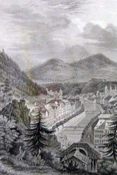 "POPPEL Johann: ""Karlovy Vary od kaple Panny Marie"""