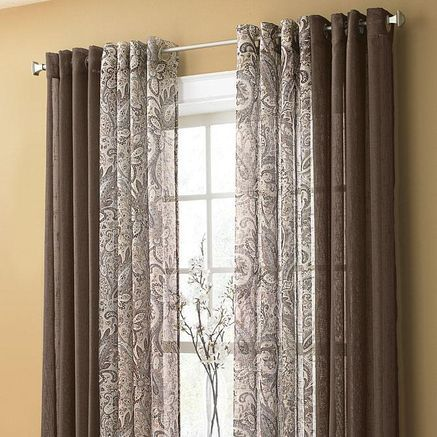 Image result for window curtains sheer and solid