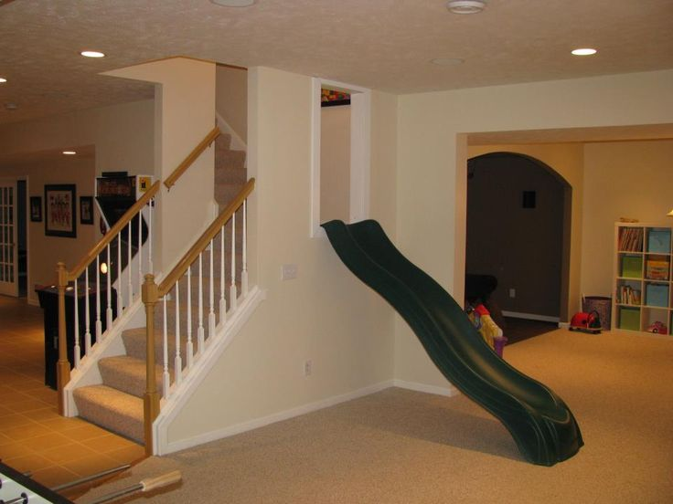 basement ideas for kids area. Slide right on into the playroom  O maybe a bigger slide for us big kids lol Mead home Pinterest Playrooms Basements and House