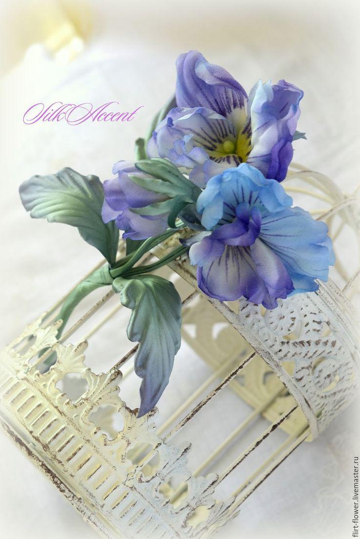 Купить Фиалка Виола Анютины Глазки цветок букетик из шелка - сиреневый, фиалки из шелка