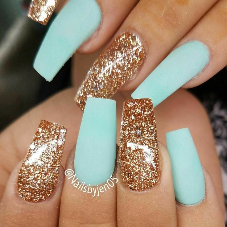 Tapered Square Nails. Mint and Gold Nails. Gold Glitter Nails. Matte Nails. Acry… – Beauty Magazine